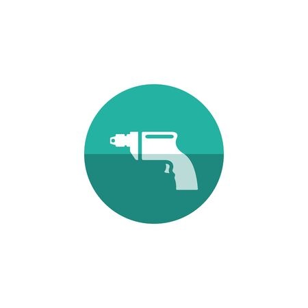 Electric drill icon in flat color circle style. Machine carpenter tool equipment wood working