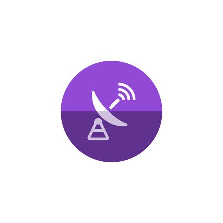 wireless icon: Satellite receiver icon in flat color circle style. Data information technology space science