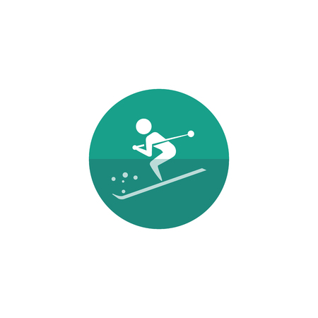 competitions: Skiing icon in flat color circle style. Sport people snow mountain downhill outdoor activity