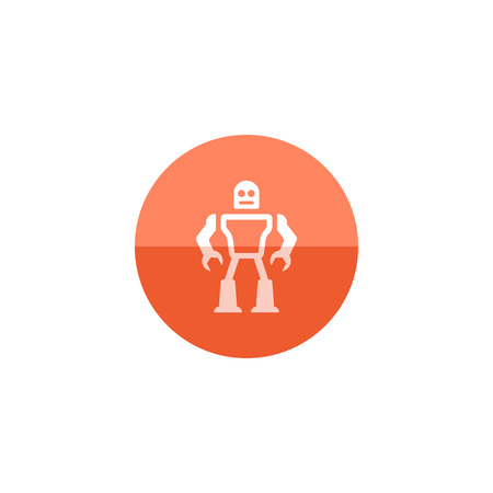 engine: Toy robot icon in flat color circle style. Children kids playing mechanical droid game Illustration
