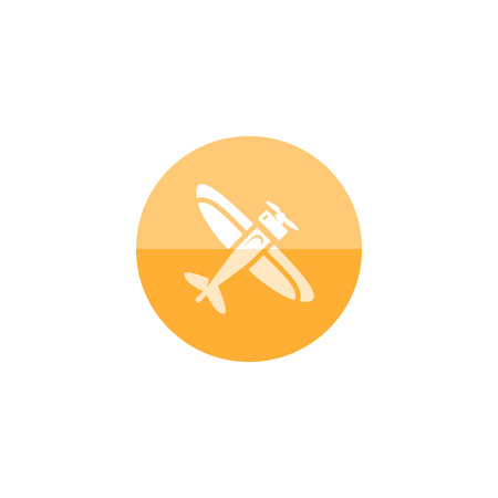 air: Vintage airplane icon in flat color circle style.