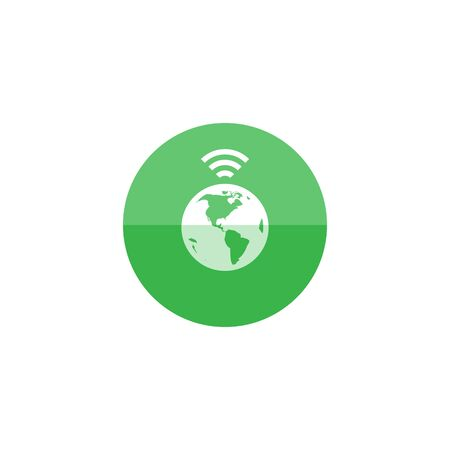 global connection: Wireless world icon in flat color circle style. Internet communication connection global