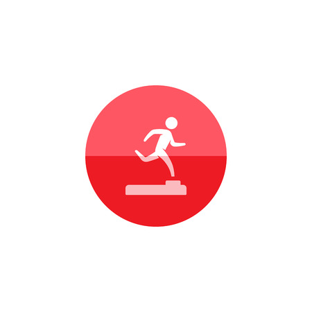 Athletic trophy icon in flat color circle style. Running triathlon decathlon competition sport