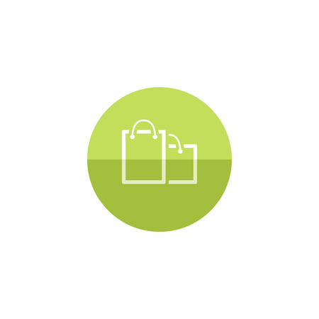 Shopping bags icon in flat color circle style. Buying, ecommerce Illustration