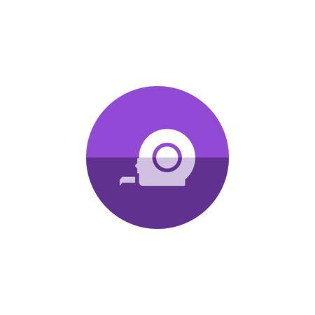 cintas metricas: Mida icono de la cinta en el estilo del círculo de color plano. Herramienta de construcción instrumento longitud actualización Vectores