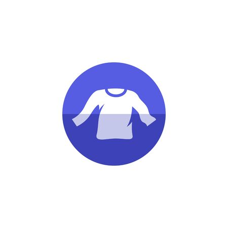 Long sleeve T-shirt icon in flat color circle style. Fashion laundry cleaning Illustration