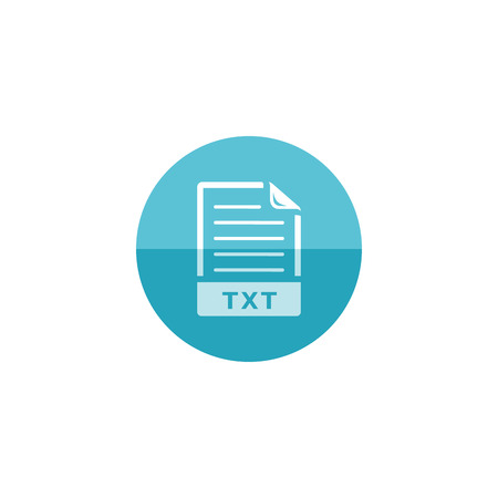 letter: Text file format icon in flat color circle style. Document computer data file hosting download