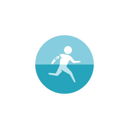 smart man: Running athlete icon in flat color circle style. Marathon triathlon competition sport Illustration