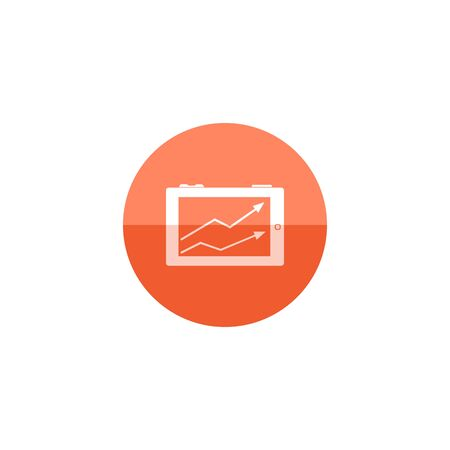 investment concept: Arrow chart icon in flat color circle style. Digital, display, tablet, phone