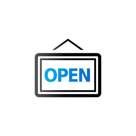 shop sign: Open sign icon in duo tone color. Cafe restaurant shop Illustration