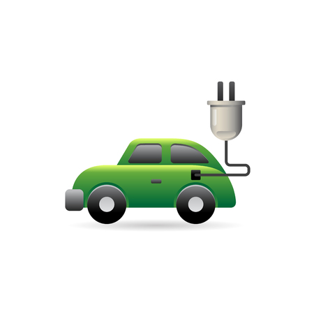 Electric car icon in color. Vehicle environment