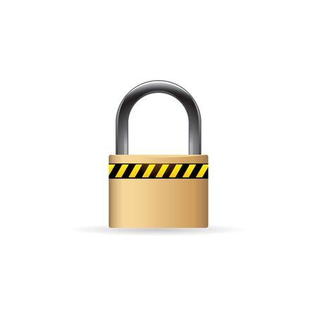 website buttons: Padlock icon in color. Safety protection guard