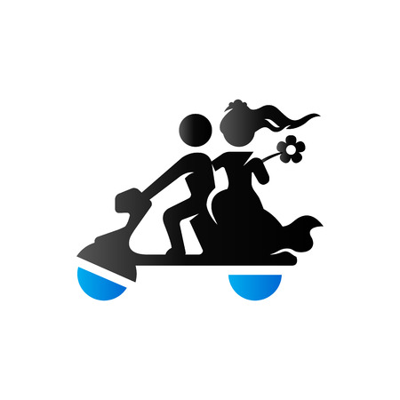 beautiful men: Wedding scooter icon in duo tone color. Newlywed riding scooter motor