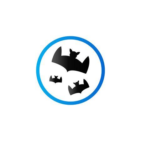Bats and moon icon in duo tone color. Animal season Halloween
