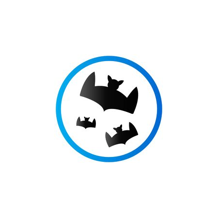 Bats and moon icon in duo tone color. Animal season Halloween