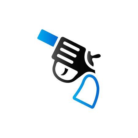 historic: Revolver gun icon in duo tone color. Handgun police armed