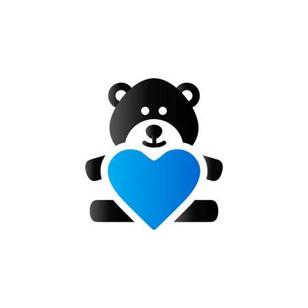 acquaintance: Teddy holding heart shape icon in duo tone color. Valentine love present Illustration