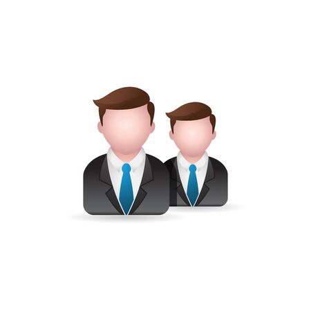 human face: Businessman icon in color. Business office finance