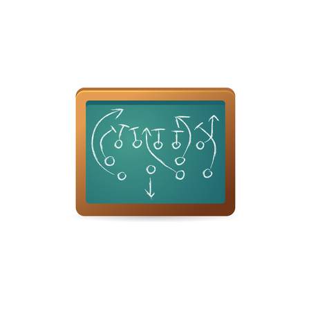 responsive: Chalkboard with arrow doodle icon in color. Sport tactic coaching strategy