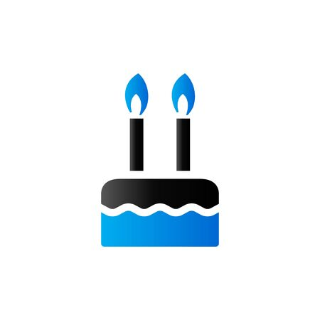 blue flame: Birthday cake icon in duo tone color. Food sweet celebration Illustration