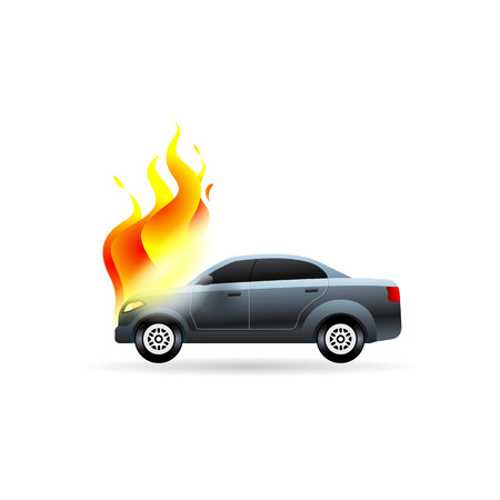 Car on fire icon in color. Automotive accident accident