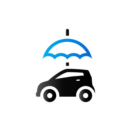 solicitude: Car and umbrella icon in duo tone color. Insurance protection