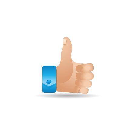 status: Thumb up hand icon in color. Internet social media news status Illustration
