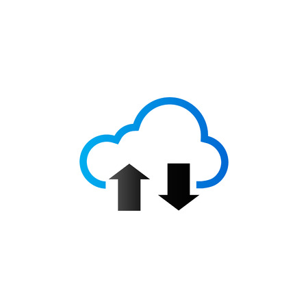 cloud network: Cloud icon with arrows in duo tone color. Computing data storage