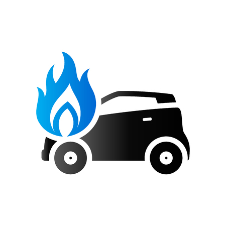 Car on fire icon in duo tone color. Automotive accident accident