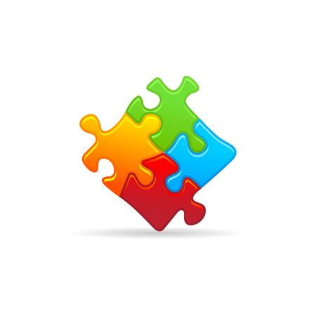 technology symbols metaphors: Puzzle icon in color. Toy playing jigsaw match