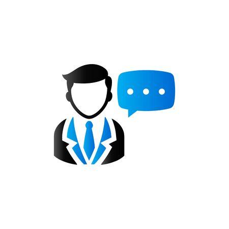 duo tone: Businessman with talk bubble icon in duo tone color. Communication discussion idea