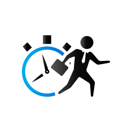 controlling: Businessman clock icon in duo tone color. Business deadline time