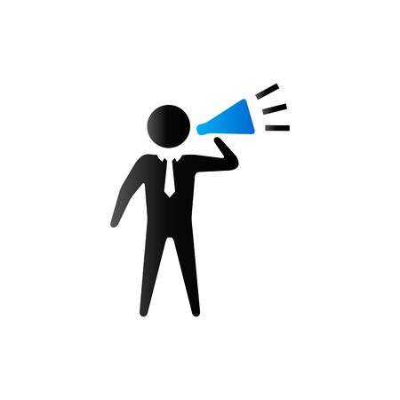 motivator: Businessman loudspeaker icon in duo tone color. Motivator leader megaphone Illustration