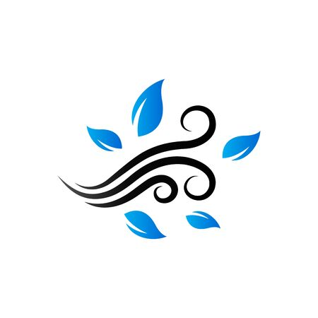 Blowing leaves icon in duo tone color. Autumn fall weather Illustration
