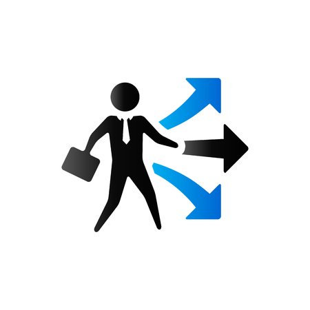 view: Businessman choice icon in duo tone color. Business option career arrows Illustration