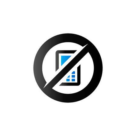 restriction: Phone restriction area icon in duo tone color. Smartphone prohibited