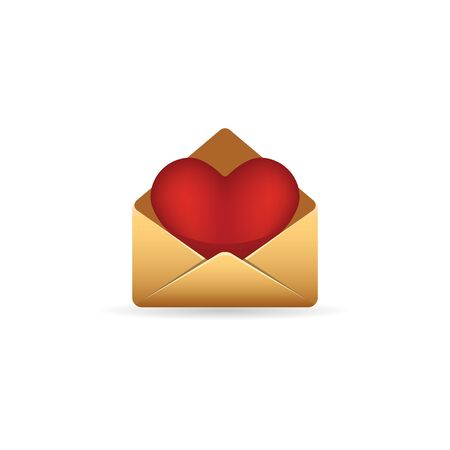 romance love: Envelope with heart icon in color. Love romance gift