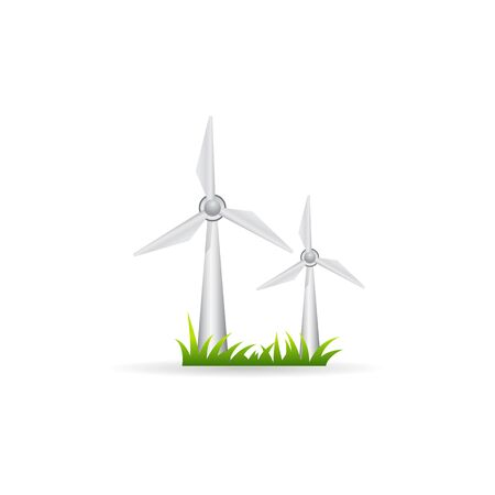Wind turbine icon in color. renewable energy environment