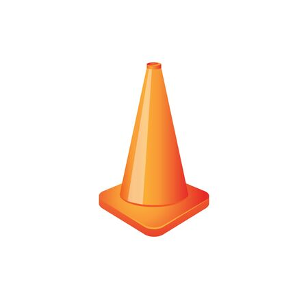 attention: Traffic cone icon in color. Road construction warning
