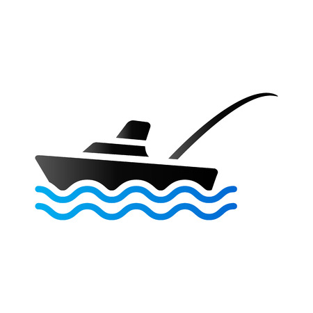 Fishing boat icon in duo tone color. Sport recreation ship transport