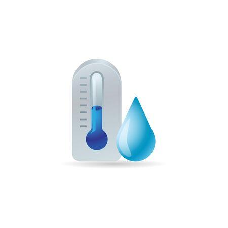 scale icon: Thermometer icon in color. nature temperature low cold