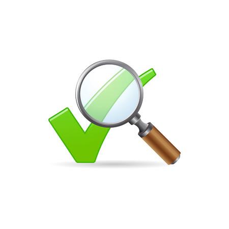 arte optico: Icono de marca de verificación de lupa en color. Zoom buscar localizar