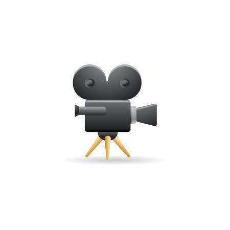Movie camera icon in color. Technology entertainment cinema recording