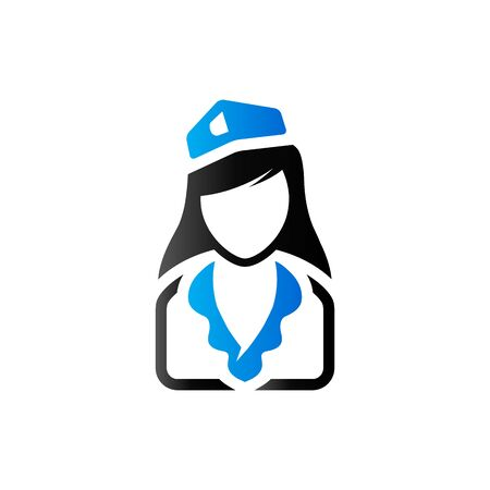 Stewardess avatar icon in duo tone color. Transportation flight attendant