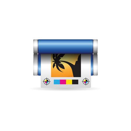 Ikona drukowania offsetowego w kolorze. Wydawca usługi drukowania