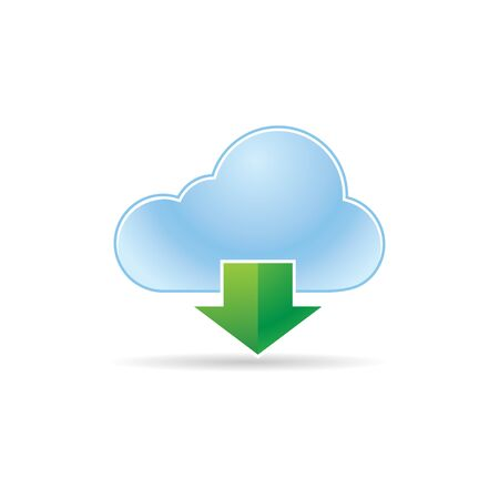 Cloud icon with arrows in color. Computing data storage