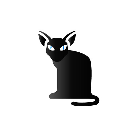 Cat icon in duo tone color. Animal black kitten Illustration
