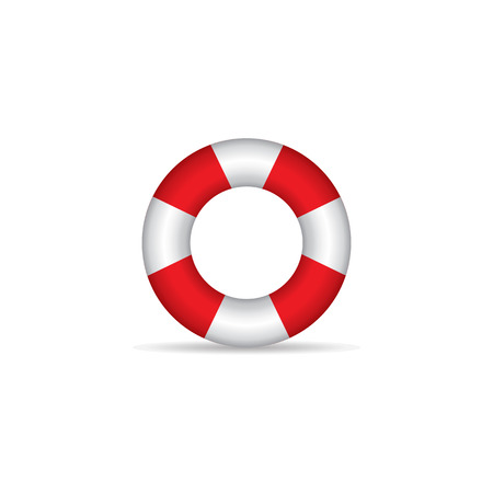 safety buoy: Ring buoy icon in color. Safety equipment sea Illustration