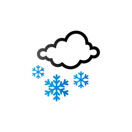 overcast: Weather overcast snowing icon in duo tone color. snowflakes winter December