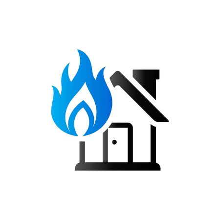 House fire icon in duo tone color. Nature disaster accident Illustration